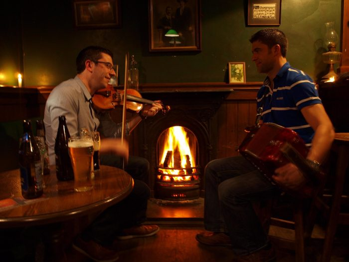 Martin Egan (fiddle) and Larry Egan (accordion) at Egans Bar Parkbridge, County Wicklow, Ireland