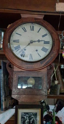 This clock on display in Egans Bar, has been there since before the 1900s. It was originally placed in the grocery shop and is still being maintained and run by Larry Egan.