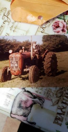 Larry Egan on a Massey Ferguson tractor
